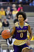 Alcorn State Braves guard Troymain Crosby (0) contra,s the ball against the Vanderbilt Commodores during the first half of a NCAA college basketball game in Nashville, Tenn., Friday, Nov 16, 2018. (Jim Brown/Image of Sport)