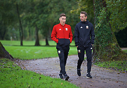 CARDIFF, WALES - Sunday, October 13, 2019: Wales' Harry Wilson (L) and assistant coach Albert Stuivenberg during a pre-match team walk at the Vale Resort ahead of the UEFA Euro 2020 Qualifying Group E match between Wales and Croatia. (Pic by David Rawcliffe/Propaganda)
