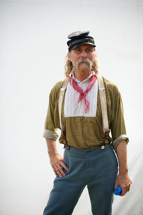 Robert Jordan of Tipton, Indiana poses for a portrait on the third day of the 149th Gettysburg Reenactment in Gettysburg, Pennsylvania on July 8, 2012.
