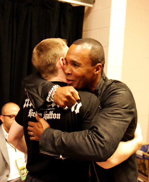 Sugar Ray Leonard wishes Ricky Hatton good luck in the changing room. Ricky Hatton v Floyd Mayweather, Las Vegas, Nevada.