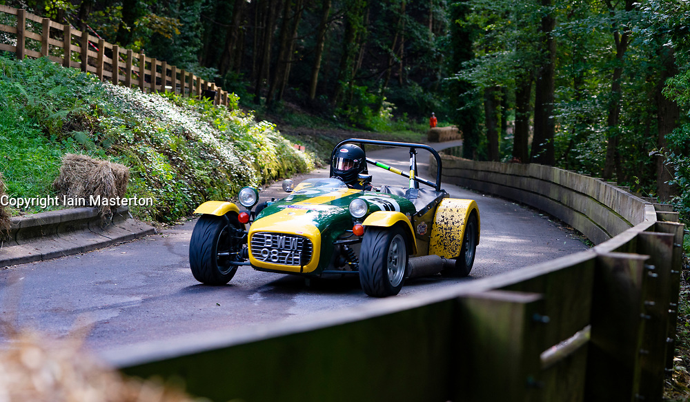 Boness Revival hillclimb motorsport event in Boness, Scotland, UK. The 2019 Bo'ness Revival Classic and Hillclimb, Scotland's first purpose-built motorsport venue, it marked 60 years since double Formula 1 World Champion Jim Clark competed here.  It took place Saturday 31 August and Sunday 1 September 2019. 35. Keiron Baillie. Lotus seven