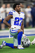 ARLINGTON, TX - OCTOBER 14:  Jourdan Lewis #27 of the Dallas Cowboys warms up before a game against the Jacksonville Jaguars at AT&T Stadium on October 14, 2018 in Arlington, Texas.  The Cowboys defeated the Jaguars 40-7.  (Photo by Wesley Hitt/Getty Images) *** Local Caption *** Jourdan Lewis