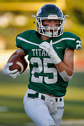 {BLOOMINGTON, IL: Trevor Staley runs back a Thunder turn over during a college football game between the IWU Titans  and the Wheaton Thunder on September 15 2018 at Wilder Field in Tucci Stadium in Bloomington, IL. (Photo by Alan Look)