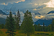 Storm clouds and the Canadian Rocky Mountains<br /> Mt. Robson Provincial Park<br /> British Columbia<br /> Canada