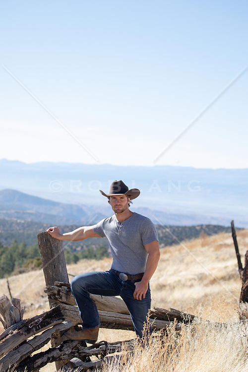 cowboy by a rustic fence on a mountain top