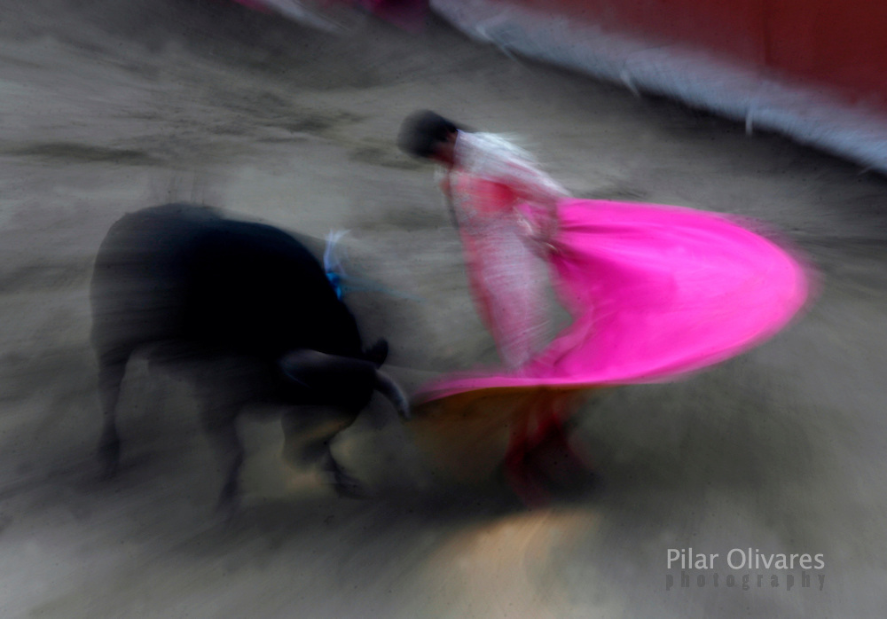Spanish bullfighter Sebastian Palomo performs a pass to a bull during a bullfight at the Plaza de Acho bullring in Lima December 2, 2007. REUTERS/Pilar Olivares (PERU)