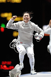 01.08.2012, ExCeL Exhibition Centre, London, GBR, Olympia 2012, Fechten, im Bild Celebration gold medal JUNG Jinsun (KOR); Women Individual Sabre // during fencing, at the 2012 Summer Olympics at ExCeL Exhibition Centre, London, United Kingdom on 2012/08/01. EXPA Pictures © 2012, PhotoCredit: EXPA/ Insidefoto/ Giovanni Minozzi ATTENTION - for AUT, SLO, CRO, SRB, SUI and SWE only *****