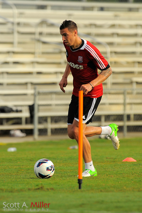 U.S. national team defender Geoff Cameron during a training session with the Stoke City Potters at the Seminole Soccer Complex on July 27, 2012 in Sanford, Florida. Cameron has transfered with the club from his MLS team Houston...©2012 Scott A. Miller..