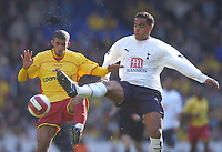 Photo: Olly Greenwood.<br />Tottenham Hotspur v Watford. The Barclays Premiership. 17/03/2007. Tottenham's Tom Huddlestone and Watford's Hameur Bouazza