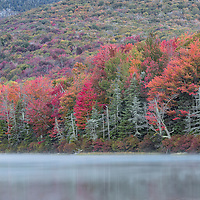 Early morning fog and fall foliage at Noyes Pond, in Seyon Ranch State Park, West Groton, Vermont