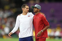 London, August 13 2017 . Robert Grabarz, Great Britain, and Mutaz Essa Barshim, Qatar, prepare for the men's high jump final on day ten of the IAAF London 2017 world Championships at the London Stadium. © Paul Davey.