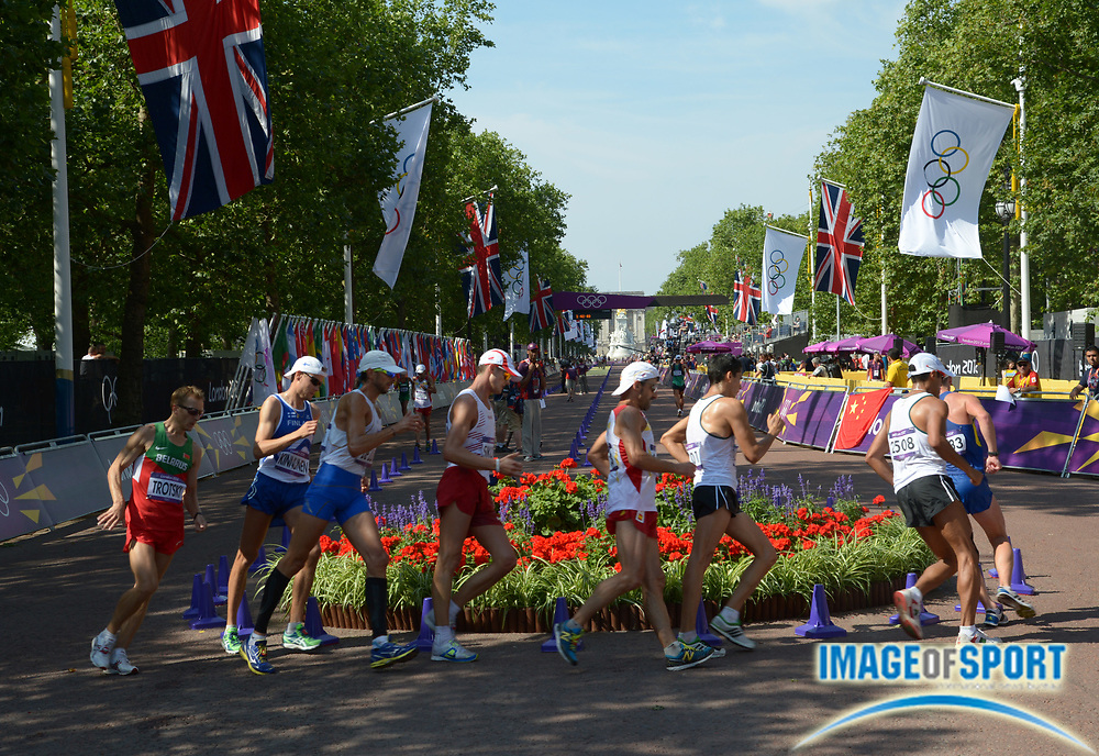 Aug 11, 2012; London, United Kingdom; General view of the mens 50km race walk at the London 2012 Olympic Games at The Mall.