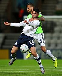 Preston North End's Sean Maguire challenges Cardiff City's Joe Bennett - Mandatory by-line: Matt McNulty/JMP - 12/09/2017 - FOOTBALL - Deepdale Stadium - Preston, England - Preston North End v Cardiff City - SkyBet Championship