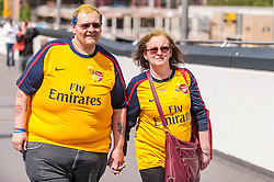 © Licensed to London News Pictures. 30/05/2015. London, UK. Arsenal supporters arriving, as fans gather at Wembley Stadium for the FA Cup Final 2015, between Arsenal and Aston Villa. Photo credit : Stephen Chung/LNP
