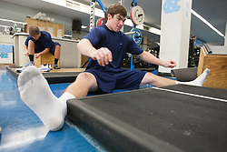 27 November 2007: North Carolina Tar Heels men's lacrosse Michael J. Burns during a weight lifting session in Chapel Hill, NC.
