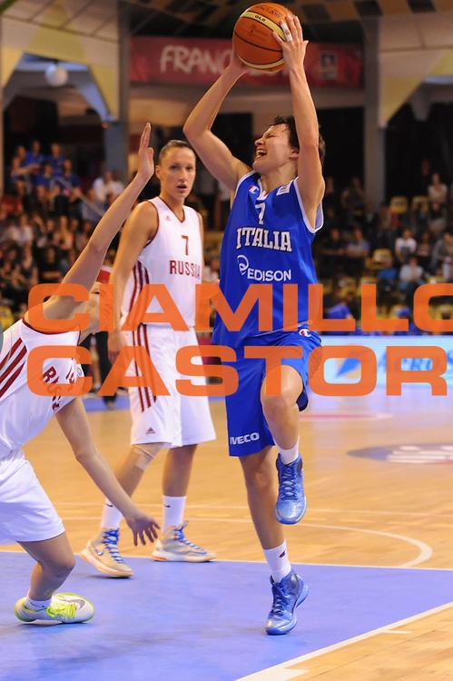 DESCRIZIONE : Vannes 17 giugno 2013 Eurobasket 2013 femminile<br /> Italia Nazionale Femminile Russia<br /> GIOCATORE : Giorgia Sottana<br /> CATEGORIA : tiro<br /> SQUADRA : Italia Nazionale Femminile <br /> EVENTO : Eurobasket 2013<br /> Italia Nazionale Femminile Russia<br /> GARA : Italia Nazionale Femminile Russia<br /> DATA : 17/06/2013<br /> SPORT : Pallacanestro <br /> AUTORE : Agenzia Ciamillo-Castoria/M.Marchi<br /> Galleria : Eurobasket 2013<br /> Fotonotizia : Vannes 17 giugno 2013 Eurobasket 2013 femminile<br /> Italia Nazionale Femminile Russia<br /> Predefinita :
