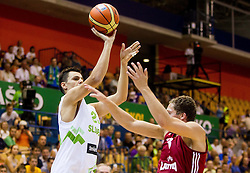 Jure Balazic of Slovenia during friendly match between National teams of Slovenia and Latvia for Eurobasket 2013 on August 2, 2013 in Arena Zlatorog, Celje, Slovenia. Slovenia defeated Latvia 71-67. (Photo by Vid Ponikvar / Sportida.com)