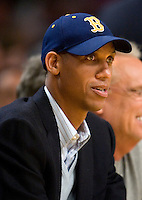 4 December 2006: Ex-basketball player Reggie Miller watches the Los Angeles Lakers play the Indiana Pacers during the first half of the Lakers 101-87 victory over the Pacers at the STAPLES Center in Los Angeles, CA.<br />
