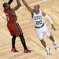 07 June 2012: Miami Heat shooting guard Dwyane Wade (3) takes a jumpshot over Boston Celtics shooting guard Ray Allen (20) during first half of Game 6 of the Eastern Conference Finals playoff series, Heat at Celtics at the TD Banknorth Garden, Boston, Massachusetts, USA.