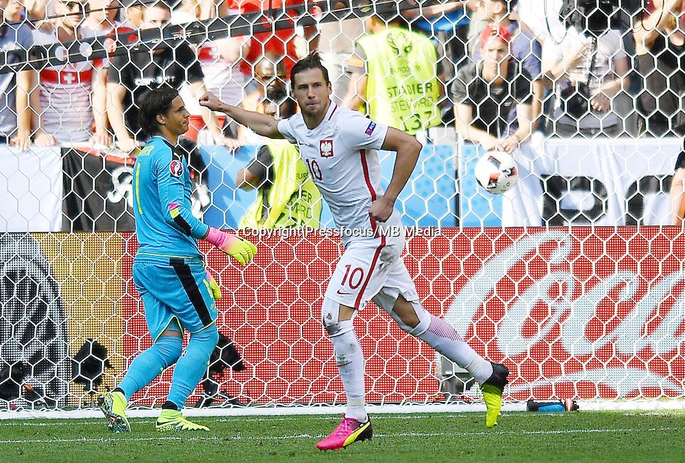 2016.06.25 Saint-Etienne<br /> Pilka nozna Euro 2016<br /> mecz 1/8 finalu Szwajcaria - Polska<br /> N/z Grzegorz Krychowiak radosc awans feta ostatni karny<br /> Foto Lukasz Laskowski / PressFocus<br /> <br /> 2016.06.25<br /> Football UEFA Euro 2016 <br /> Round of 16 game between Switzerland and Poland<br /> Grzegorz Krychowiak radosc awans feta ostatni karny<br /> Credit: Lukasz Laskowski / PressFocus