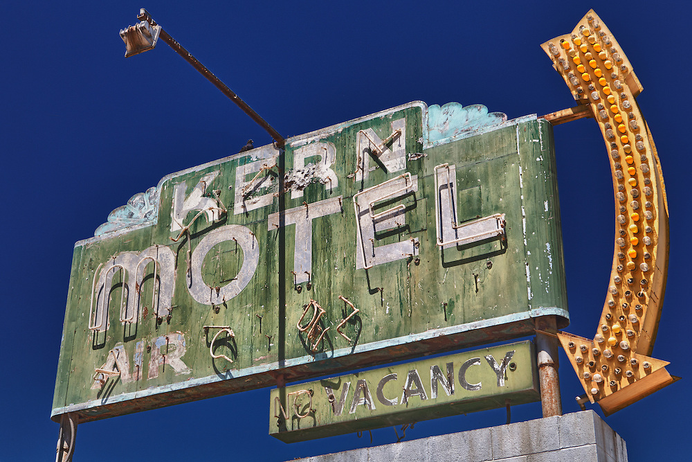 Kern Motel Sign Northbound View - McFarland, CA - Highway 99 - HDR