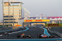 13.11.2011, Yas-Marina-Circuit, Abu Dhabi, UAE, Grosser Preis von Abu Dhabi, im Bild DHL Branding - Jenson Button (GBR), McLaren F1 Team  - Mark Webber (AUS), Red Bull Racing - Felipe Massa (BRA), Scuderia Ferrari  // during the Formula One Championships 2011 Large price of Abu Dhabi held at the Yas-Marina-Circuit, 2011/11/13. EXPA Pictures © 2011, PhotoCredit: EXPA/ nph/ Dieter Mathis..***** ATTENTION - OUT OF GER, CRO *****