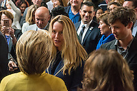 "Hillary Clinton, former Secretary of State and 2016 Democratic presidential candidate, greets Laurene Powell Jobs, left and her son Reed Jobs, center, during an event at Stanford University in Stanford, California, U.S., on Wednesday, March 23, 2016. In the wake of a series of deadly terrorist attacks in Brussels on Tuesday, the U.S. presidential front-runners clashed over interrogation techniques and whether to stop foreign Muslims from entering the country. ""Our country's most experienced and bravest military leaders will tell you that torture is not effective,"" said Clinton. Photograph by David Paul Morris"