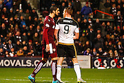Hearts FC Defender Igor Rossi and Aberdeen FC Forward Adam Rooney come together during the Scottish Cup fourth round match between Heart of Midlothian and Aberdeen at Tynecastle Stadium, Gorgie, Scotland on 9 January 2016. Photo by Craig McAllister.
