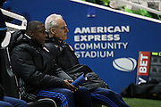 Ipswich Town manager Mick McCarthy and Ipswich Town assistant manager Terry Connor during the EFL Sky Bet Championship match between Brighton and Hove Albion and Ipswich Town at the American Express Community Stadium, Brighton and Hove, England on 14 February 2017.