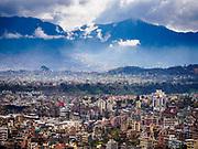 11 MARCH 2017 - KATHMANDU, NEPAL:  The view of Kathmandu after a rainstorm from Swayambhu Stupa. The second most important Buddhist stupa in Kathmandu, Swayambhu Stupa is also a historic landmark and has panoramic views of Kathmandu. It is sacred to both Buddhists and Hindus. The stupa is being rebuilt because it was badly damaged in the 2015 earthquake.   PHOTO BY JACK KURTZ