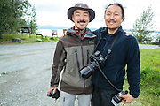 Takeshi Hanatani and Shun Adachi by the Skilak Lake, Alaska, USA.