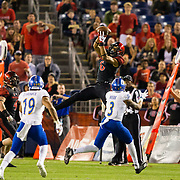 20 October 2018: San Diego State Aztecs wide receiver Tim Wilson Jr. (6) makes a leaping catch for a first down in the second quarter. The Aztecs beat the Spartans 16-13 Saturday night at SDCCU Stadium.