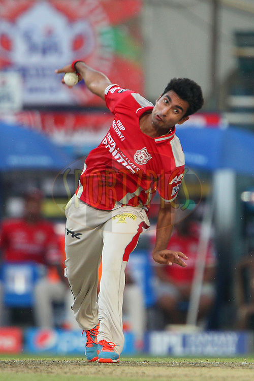 Karanveer Singh of the Kings X1 Punjab during the first qualifier match (QF1) of the Pepsi Indian Premier League Season 2014 between the Kings XI Punjab and the Kolkata Knight Riders held at the Eden Gardens Cricket Stadium, Kolkata, India on the 28th May  2014<br /> <br /> Photo by Ron Gaunt / IPL / SPORTZPICS<br /> <br /> <br /> <br /> Image use subject to terms and conditions which can be found here:  http://sportzpics.photoshelter.com/gallery/Pepsi-IPL-Image-terms-and-conditions/G00004VW1IVJ.gB0/C0000TScjhBM6ikg