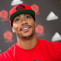 12 July 2013: Chicago Bulls superstar Derrick Rose answers journalists during Adidas' D Rose tour,  in Paris, France.
