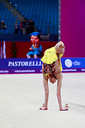 Salos Anastasiia during qualifying at clubs in Pesaro World Cup at Adriatic Arena on April 14, 2018. Anastasiia born on February 18 ,2002 in Barnaul. She is a rhythmic gymnast member of the Belarusian National Team.