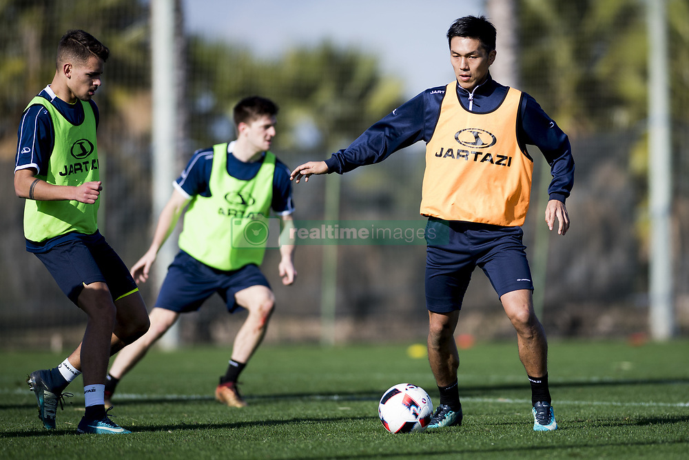 January 8, 2018 - Oliva, SPAIN - Gent's Siebe Horemans and Gent's Yuya Kubo fight for the ball during day four of the winter training camp of Belgian first division soccer team KAA Gent, in Oliva, Spain, Monday 08 January 2018. BELGA PHOTO JASPER JACOBS (Credit Image: © Jasper Jacobs/Belga via ZUMA Press)