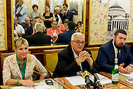 "Roma, Italy. 29th August 2015 -- Claudia Bellocchi, responsible Lega Nord of Lazio, and President of the Committee, Mario Borghezio, MEP of the Northern League, and Edoardo Maria Anghinelli, president Observatory National Security of Citizens Italian. -- The ""Romans to Rome"" committee, organized by Northern League MEP Mario Borghezio, is an association who's primary goal is to ""clean up"" the most beautiful city in the world, Rome. They are collaborating with the police to reach their goal."
