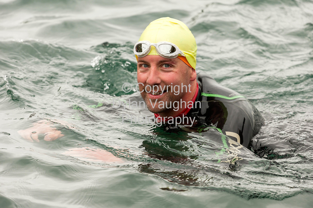 Repro Free No Charge for Repro<br /> <br /> 22-8-15<br /> <br /> Philip O&rsquo;Leary taking part in the 4.2-kilometre Tramore Bay swim that raised over &euro;5,000 for the RNLI lifeboat service in Tramore, Co Waterford.<br /> <br /> &euro;3,359 was raised in sponsorships by 21 participating swimmers with this further boosted by a contribution of &euro;2,000 from Genzyme, a Sanofi Company.<br /> <br /> Picture Dylan Vaughan.