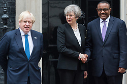 © Licensed to London News Pictures. 11/05/2017. London, UK. British Prime Minister THERESA MAY and British Foreign Secretary BORIS JOHNSON meet Prime Minister of Ethiopia HAILEMARIAM DESLEGN at No.10 Downing St, ahead of the London Summit on Somalia.  Photo credit: Ray Tang/LNP
