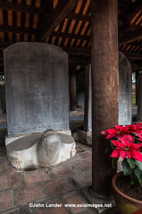 Stelae of Doctors at the Temple of Literature - <br /> Carved stone turtle steles with elaborate motifs are meant to honor both talent and to encourage study. The turtle is a symbol of longevity.  The doctors steles are a valuable historical resource for the study of culture, education and sculpture in Vietnam.  The Chinese engravings on each stele praise the merits of the monarch and cite the reason for holding royal exams.  The Temple of Literature's 82 steles engraved with the names of doctorate holders dating as far back as 1442 were recognized as a World Documentary Heritage Site by UNESCO in 2010.
