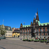 Stortorget or Great Square in Malmö, Sweden<br /> The Great Square, called Stortorget in Swedish, was named the Thet New Square when it was complete in the late 1530s. Its two prominent landmarks are the Länsresidenset or Governor's Residence on the left and the Rådhuset or Town Hall on the right.