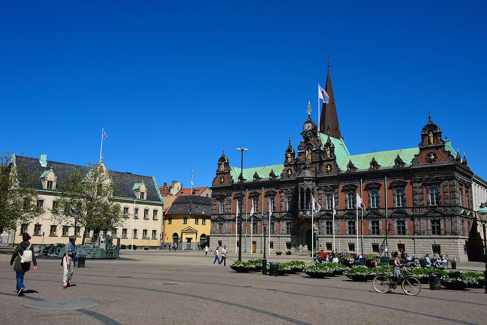 Stortorget or Great Square in Malm&ouml;, Sweden<br /> The Great Square, called Stortorget in Swedish, was named the Thet New Square when it was complete in the late 1530s. Its two prominent landmarks are the L&auml;nsresidenset or Governor&rsquo;s Residence on the left and the R&aring;dhuset or Town Hall on the right.