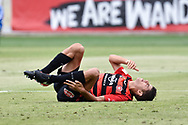 February 12, 2017: Western Sydney Wanderers defender Jonathan ASPROPOTAMITIS (22) goes down injured at Round 19 of the 2017 Hyundai A-League match, between Western Sydney Wanderers and Central Coast Mariners played at Spotless Stadium in Sydney.