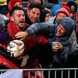 Fans wrestle for the ball after a conversion during the 2017 DHL Lions Series 2nd test rugby match between the NZ All Blacks and British & Irish Lions at Westpac Stadium in Wellington, New Zealand on Saturday, 1 July 2017. Photo: Dave Lintott / lintottphoto.co.nz