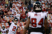 December 23, 2013; San Francisco, CA, USA; Atlanta Falcons quarterback Matt Ryan (2) passes to wide receiver Roddy White (84) before the game in the final regular season game against the San Francisco 49ers at Candlestick Park.