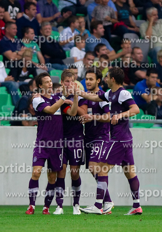 Roland Linz of FK Austria Wien, Alexander Grunwald of FK Austria Wien, Nacer Barazite of FK Austria Wien and Kaja Rogulj of FK Austria Wien celebrate during football match between NK Olimpija Ljubljana (SLO) and FK Austria Wien (AUT) of 1st Leg of Europa League Third Qualifying Round, on July 28, 2011, in SRC Stozice, Ljubljana, Slovenia.   (Photo by Vid Ponikvar / Sportida)