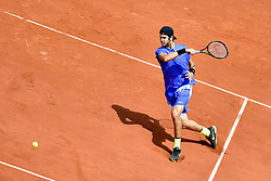 PARIS, June 5, 2017  Karen Khachanov of Russia hits a return during the men's singles fourth round match against Andy Murray of Britain at the French Open Tennis Tournament 2017 in Paris, France, on June 5, 2017. (Credit Image: © Chen Yichen/Xinhua via ZUMA Wire)