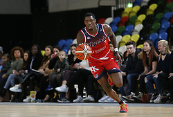 Fred Thomas of Bristol Flyers dribbles with the ball - Photo mandatory by-line: Arron Gent/JMP - 20/11/2019 - BASKETBALL - Copper Box Arena - London, England - London Lions v Bristol Flyers - British Basketball League Cup