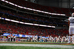 General sponsorship signage during the Chick-fil-A Kickoff Game between the Auburn Tigers and the Washington Huskies at Mercedes-Benz Stadium, Saturday, September 1, 2018, in Atlanta. Auburn won 21-16. (Enka Lawson via Abell Images for Chick-fil-A Kickoff)