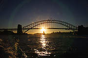 Sunset over Sydney Harbour Bridge, Sydney, Australia.